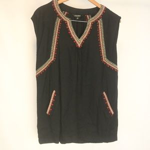 Lucky Brand Women's M Tunic Beaded Embroidered